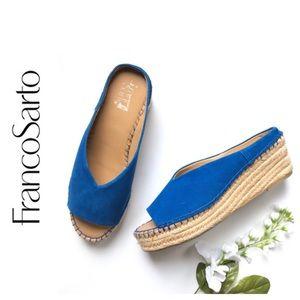 Franco Sarto Blue Platform Espadrille Sandals
